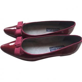 Stuart Weitzman Maroon Patent Leather Flat Ladies Shoes Size 39.5
