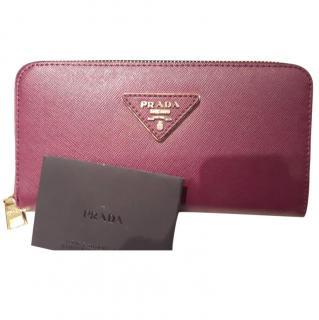 Prada Purple Zip Around Wallet