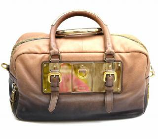 Prada Smoke Ombre Glace Zip Leather Bowler Handbag