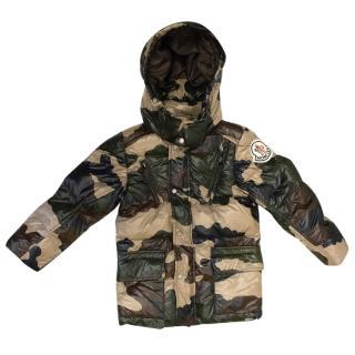 Moncler Kids Army Print Down Coat