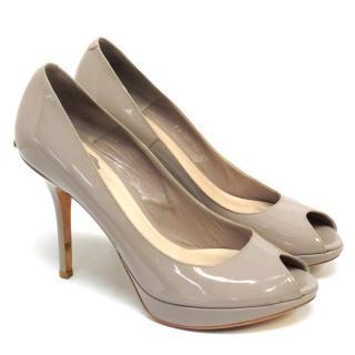 Christian Dior Grey Peeptoe Heels