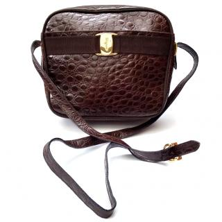 Salvatore Ferragamo Vintage Brown Crocodile Embossed Leather Bag