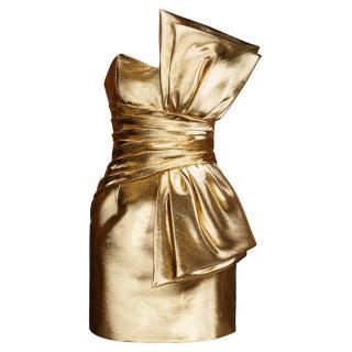 Saint Laurent Gold Metallic Dress