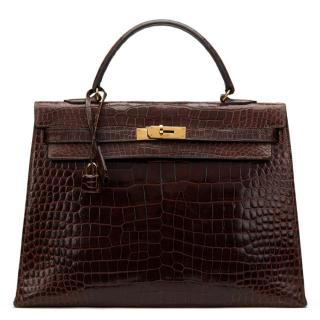 Hermes Brown Crocodile Leather Vintage Kelly Sellier 35CM 1974