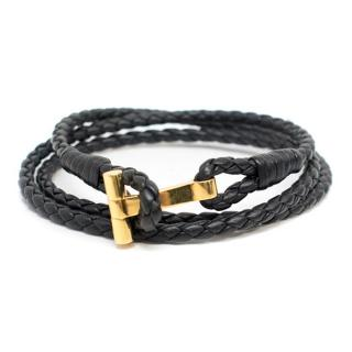 Tom Ford Black Leather Rope Bracelet