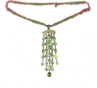 Chartage Chain Necklace with Green Stones Pendant