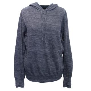 Vince Blue Linen Knitted Hoodie