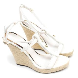Burberry White Wedge Sandals