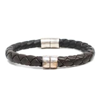 Bottega Veneta Brown Leather Woven Bracelet