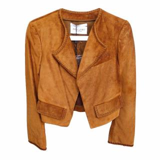 Yves Saint Laurent YSL Brown Suede Leather Stitched Jacket