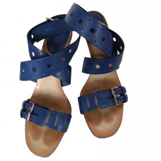 Tods Blue Wrap Sandals