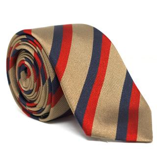 Dior Brown, Red and Black Striped Silk Tie