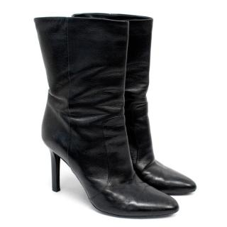 Tamara Mellon Black Leather Ankle Boots