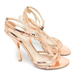 Bottega Veneta Metallic Rose Gold Heels