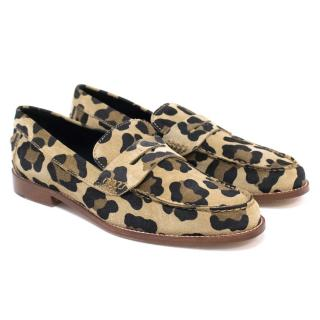 Meandher Leopard Print Suede Penny Loafers