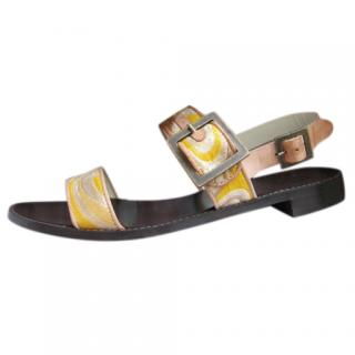 Tibi Leather/Yellow Jacquard Sandals, size 39.5.