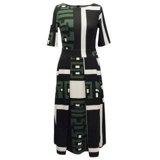Pferdgarten Black, Green and White Geometric Print Top and Skirt Set