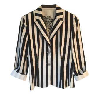 Marc Cain Black & Cream Stripe Cotton Jacket