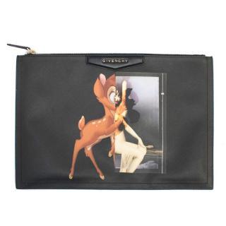 Givenchy Antigona Bambi Print Black Canvas Clutch