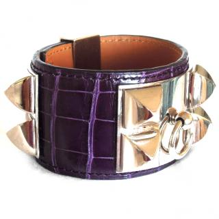 Hermes Purple CDC Collier de Chien Alligator Bracelet Cuff Manchette