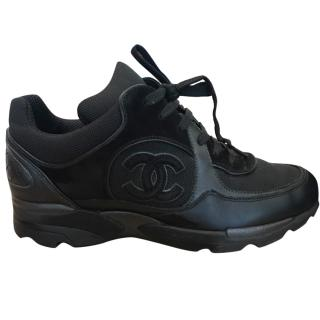 Chanel All Black Sneakers Uk4