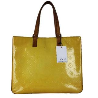 Louis Vuitton Vernis Yellow Columbus Tote Bag Purse 10427