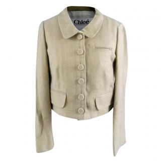 Chloe Beige Silk Cropped Jacket