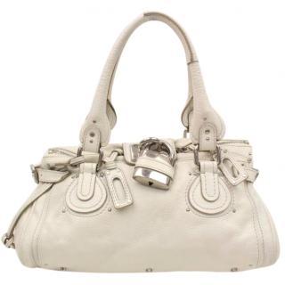 Chloe Paddington White Leather Hand Bag 10409