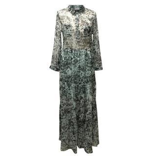 Ganni Green And Black Maxi Dress