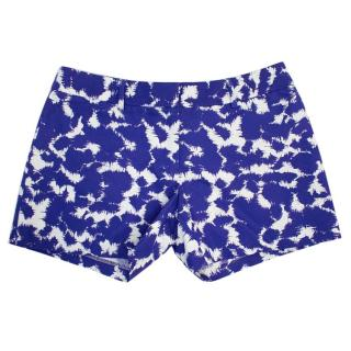 Milly Blue And White Patterned Cotton Shorts