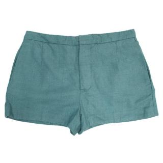 Chloe Turquoise Silk and Wool Blend Shorts