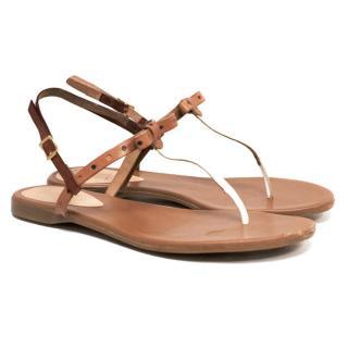 Fendi Tan Leather Sandals
