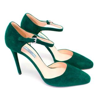 Prada Bottle Green Suede Heeled Pumps