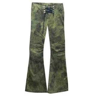Balmain Green Patterned Lace Up Detail Flare Jeans