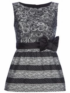 Red Valentino black rose and lace print top with bow detail