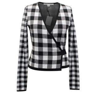 Diane Von Furstenberg Black and White Check Cardigan