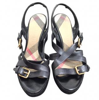 Burberry Leather Platform Espadrille Wedge Sandals
