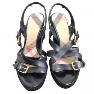 Burberry Leather Platform Espadrille Wedge Sandals