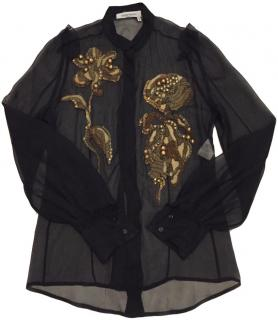 Yves Saint Laurent Sheer Blouse With Embellished Flowers.