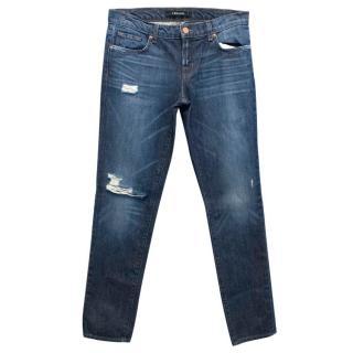 J Brand Blue Distressed Slim Fit Jeans