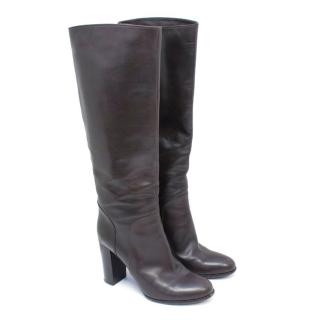 Sergio Rossi Brown Knee Length Boots