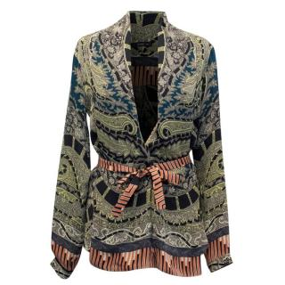 Etro Belted Paisley Silk Top