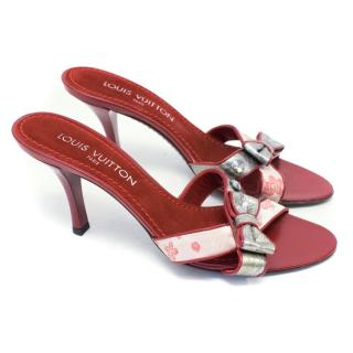 Louis Vuitton Red Cross Strap Bow Sandals