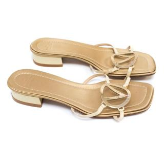 Valentino Nude and Gold Sandals
