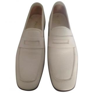 Prada Off White Leather Loafers