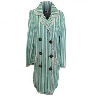 M Missoni Pastel Green Striped Crochet Coat
