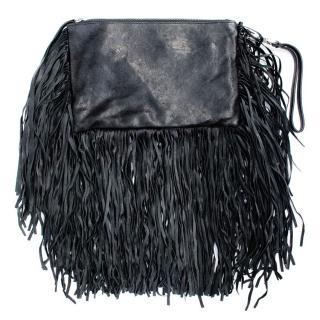 Barbara Bonner Black Tassel Clutch Bag