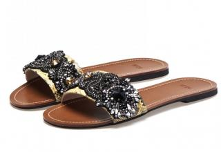 No.21 Embellished Leather Slippers