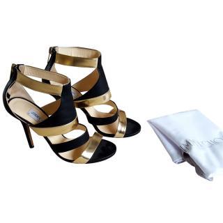 Jimmy Choo Black and Gold Sandals