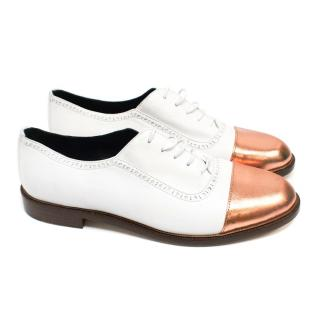 Meandher White And Rose Gold Leather Brogues